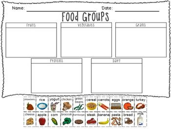 Food groups printable freebie!                              …