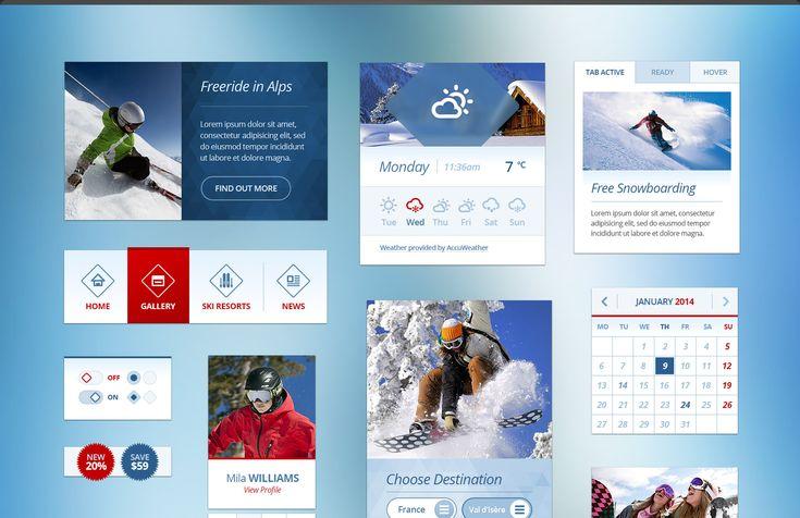 Snow Flakes Winter UI Kit Free PSD