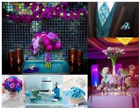 Purple and blue peacock inspired wedding ideas
