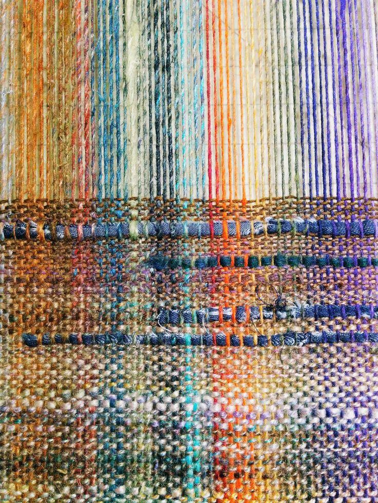 craftophilia: PROGRESS REPORT 4 - saori weaving on a rigid heddle loom - sakiori or strips of denim as weft - jenne patrick