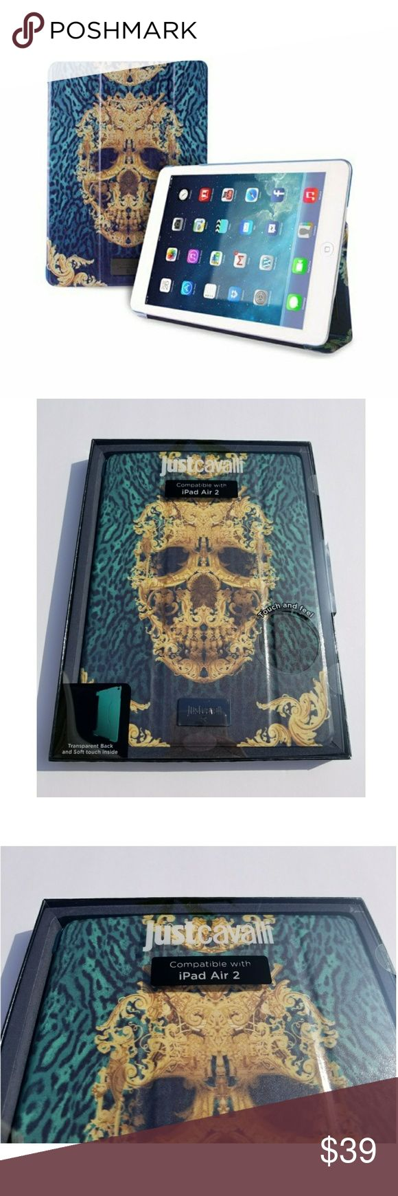 Just Cavalli Case iPad Air 2 Animal Print Skull Gorgeous 100% genuine Just Cavalli animal print skull design Ipad air case. Ultra slim magnetic smart front cover and smooth transparent ultra slim protective hard back case. Soft touch inside cover. Auto wake/sleep function the Ipad automatically goes to sleep mode when you shut the front cover and restarts when you open itagain. Metal Just Cavalli logo on the front cover.BRAND NEW in a sealed box 100% GENUINE!! *All sales are final! So I'll…