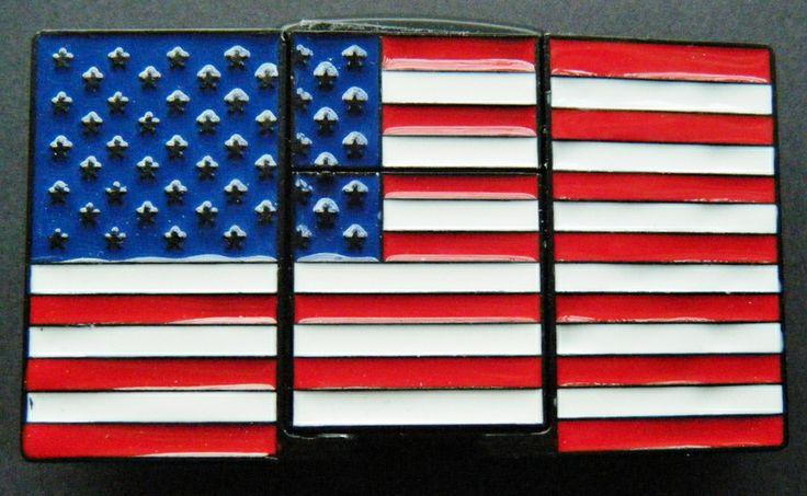 American Pride Flag USA Removable Flint Lighter Belt Buckle Belts Buckles
