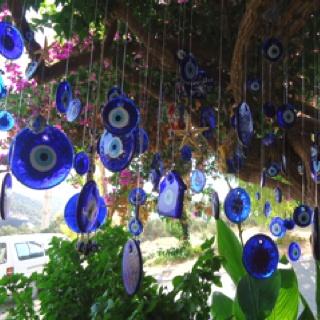 Hanging evil eyes in Kas, Turkey.