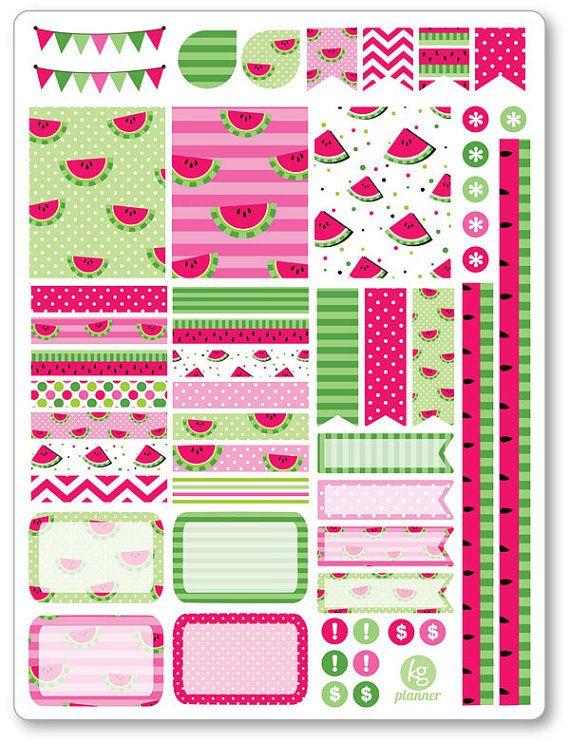 Watermelon Decorating Kit / Weekly Spread Planner Stickers for Erin Condren Planner, Filofax, Plum Paper