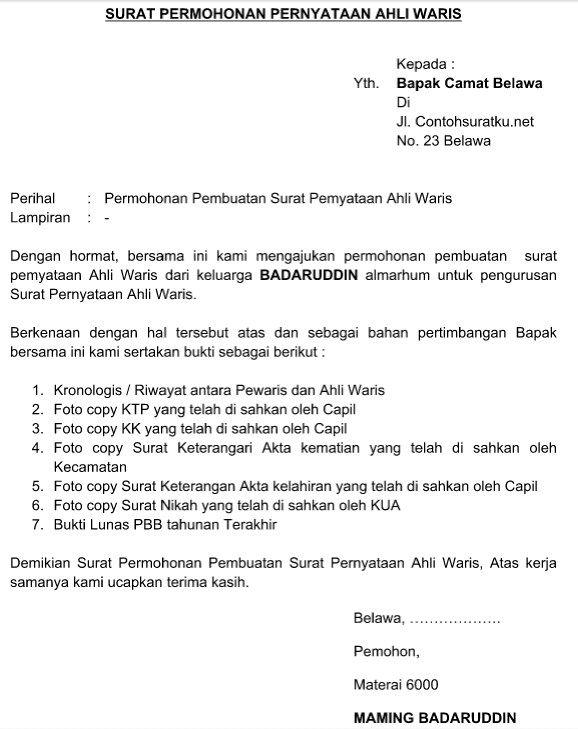 contoh surat keterangan ahli waris yang resmi dan terbaru