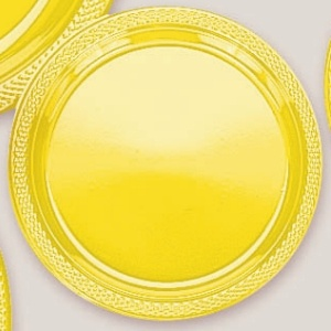 "Plastic Yellow Sunshine Dinner Plates. Plastic 10.25"" Dinner Plates Solid ColoursThere are 20 Plastic Dinner Plates per package. They are a LARGE 10.25 inches and come in 22 colours to suit any theme or event. This is a great item if you require a large plate that is stronger than paper."