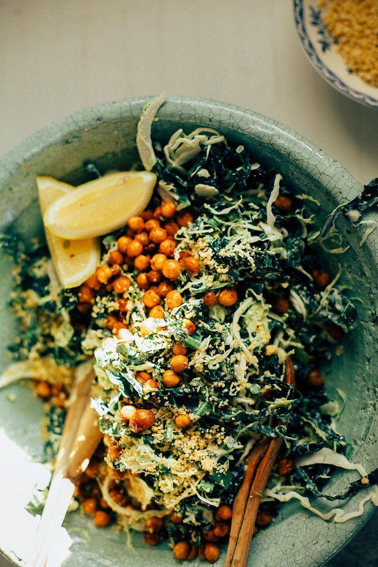 salade crémeuse de kale et pois chiches croustillants !