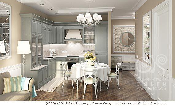 """<h1>3D дизайн интерьера кухни в квартире (неоклассика)</h1><b><a title=""""Рубрика о дизайне кухни"""" href=""""http://www.ok-interiordesign.ru/blog/category/kitchen-dining-room-interior-design/"""" target=""""_blank"""">» Подробнее</a></b><br/><br/><br/> on Дизайн интерьера квартир, перепланировка помещений   Дизайн-студия Ольги Кондратовой, г. Москва ..."""