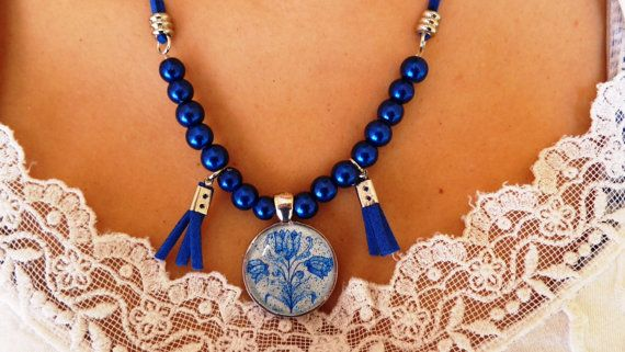 A modern necklace blue or red decoupage silver by ArtisticBreaths