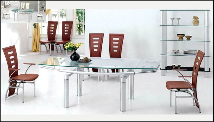 Dining Table with Chairs with Matching Glass Shelf - Here are some beautiful dining table-chair sets from Payless Furniture. Look at the petal-like glass-topped table with sunset-yellow chairs.