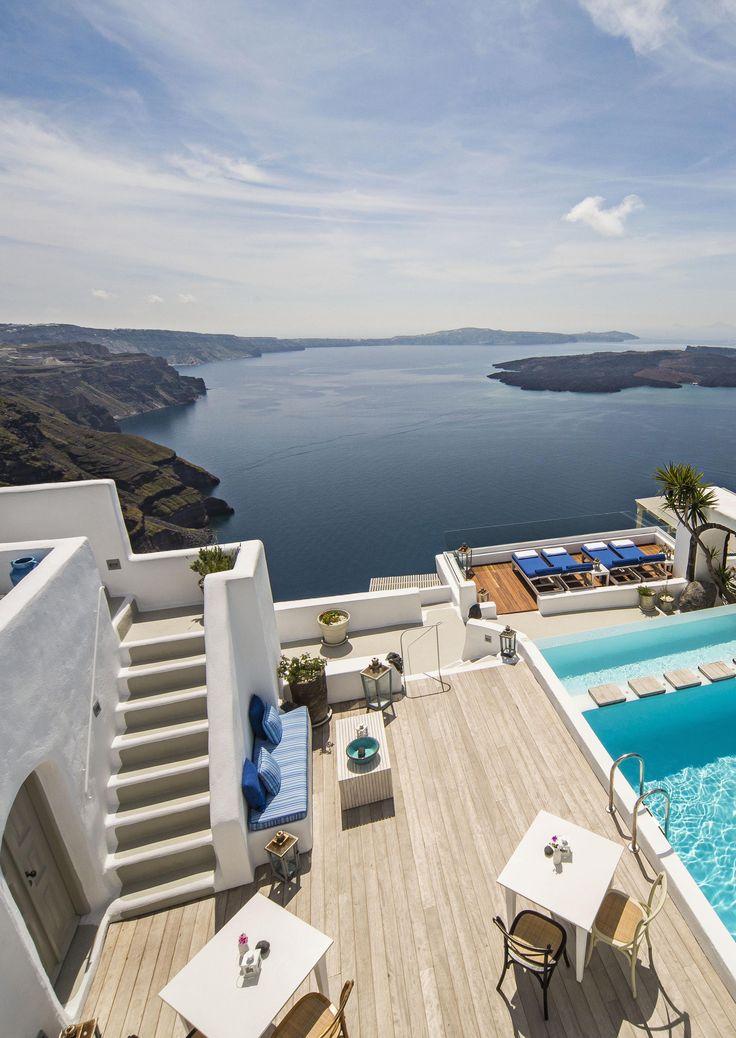 The Iconic Santorini in Imerovigli, Cyclades www.mediteranique.com/hotels-greece/santorini/iconic-santorini-a-boutique-cave-hotel/