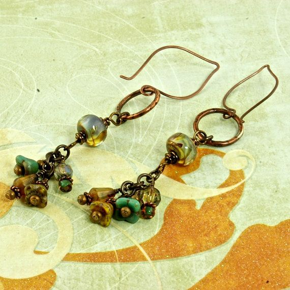 Buttercup Artisan Glass and Copper Earrings: Buttercup Artisan, Beads Stich, Beads Handmade, 38 00, Artisan Glasses, Copper Earrings, Diy Jewelry, Beads Work, Beads Stitches