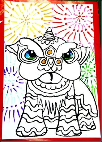 chinese new year drawing lesson....did this with 11, 9 ...