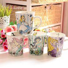 Yeni Ariel Yasemin Tangled Kar Beyaz Prenses Rapunzel Küçük Denizkızı Karikatür Süt Kahvaltı Kahve Kupa Kupası Hediye(China (Mainland))
