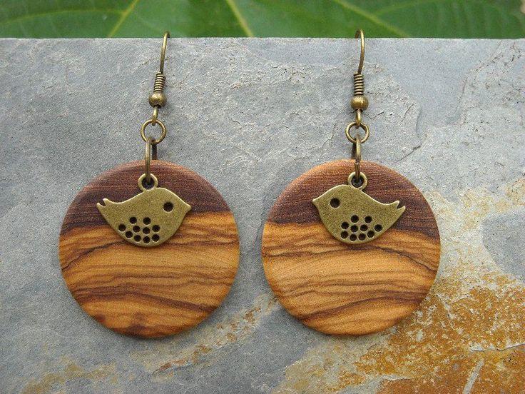 Houten oorbellen - Oorbellen olijfhout vogel hout houten brons vogels - Een uniek product van Alentejoazul op DaWanda
