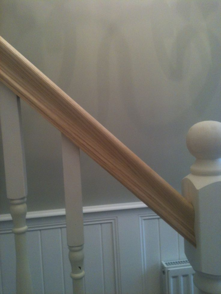 Solid ash bannister with Farrow & Ball Hardwick white walls