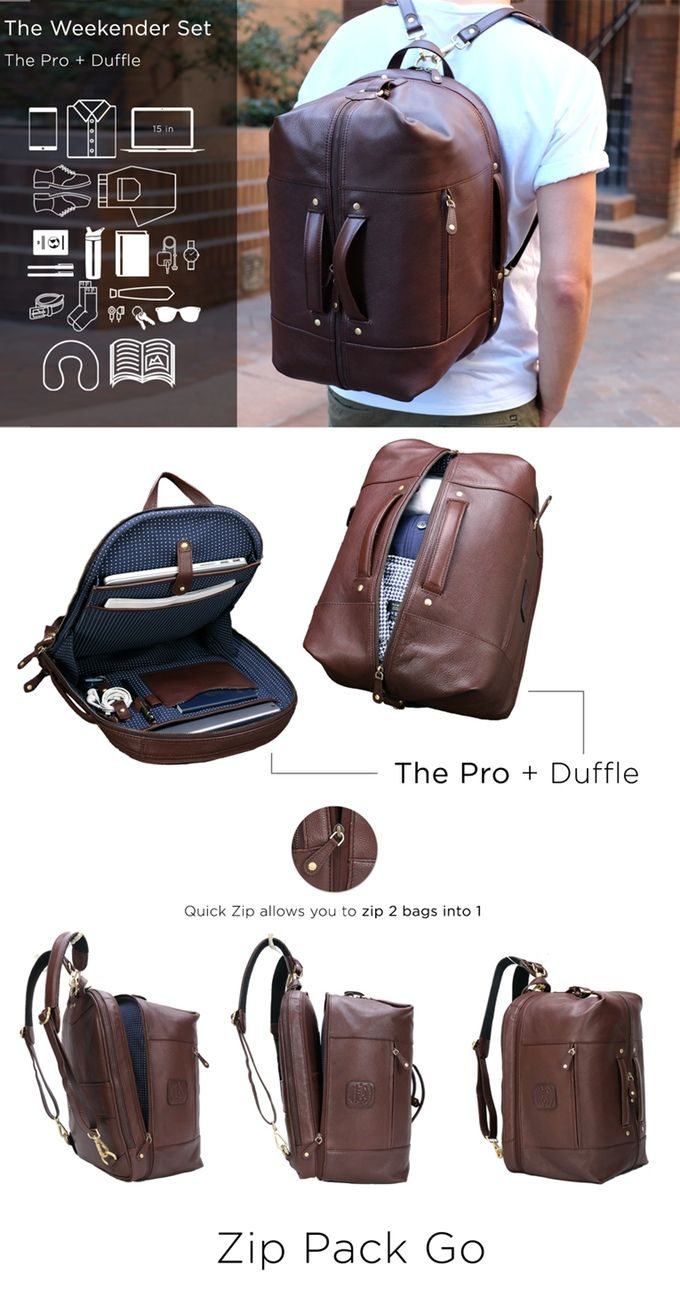 The world's most functional leather backpack! Messenger, backpack, and duffle configurations – the perfect bag for every lifestyle.