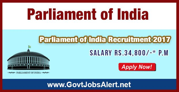 Parliament of India Recruitment 2017 - Hiring 31 Translator Posts, Salary Rs.34,800/- : Apply Now !!!  The Parliament of India Recruitment 2017 has released an official employment notification inviting interested and eligible candidates to apply for the positions of Translator (Group 'B' Non-Gazetted). The eligible candidates may apply to the posts in the prescribed format available in official website or in the official Advt. PDF below (can be download).