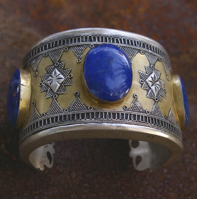 Afghan tribal jewelry, silver, gold, lapis