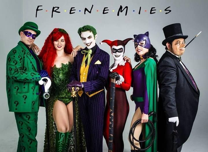 Lol. Yes!  Probably one of my favorite shoots (and photos ever)   From left:   The Riddler is https://www.facebook.com/PiecedTogetherCosplay  Me as Poison Ivy   Harley's Joker is https://www.facebook.com/HarleysJoker  Jokers Harley is https://www.facebook.com/JokersHarleyCosplay  Catwoman is https://www.facebook.com/LadyVaderCosplay  Penguin is https://www.facebook.com/jedielvis  And finally, the amazing photographer that brought it to you: https://facebook.com/ea.photogallery