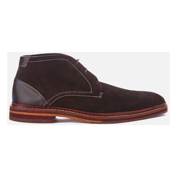 Ted Baker Men's Azzlan Suede Desert Boots ($115) ❤ liked on Polyvore featuring men's fashion, men's shoes, men's boots, brown, mens brown boots, mens suede shoes, mens suede desert boots, mens square toe boots and mens brown suede shoes
