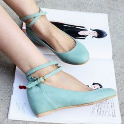 Robin's egg blue wedge with ankle strap.