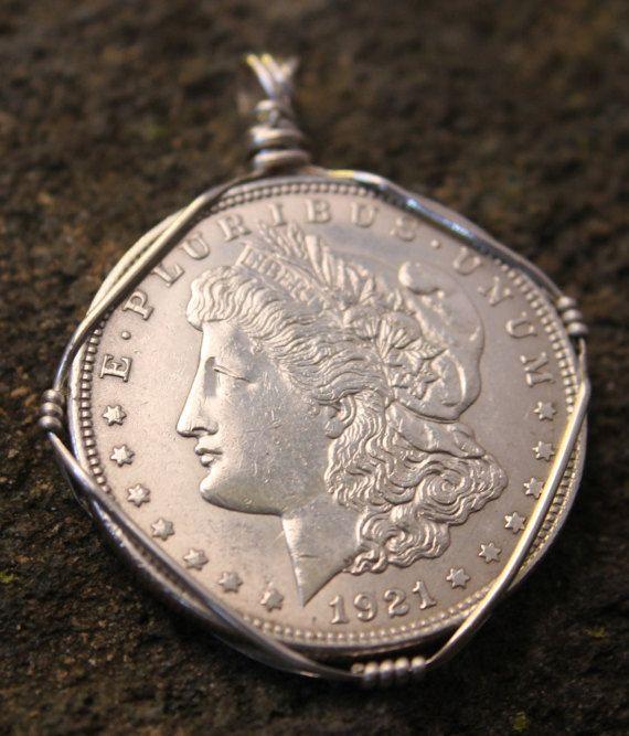 1921 Morgan Silver Dollar Pendant Vintage by WanderingRockDesigns