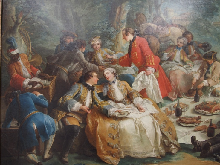 """In """"A Break During the Hunt"""" Van Loo shows Louis XV and Pauline Nesle moving right along, while Louise and Diana watch them very closely; the king had a simultaneous affair with all four Nestle sisters, the fourth, Marie-Ann is not in the picture."""