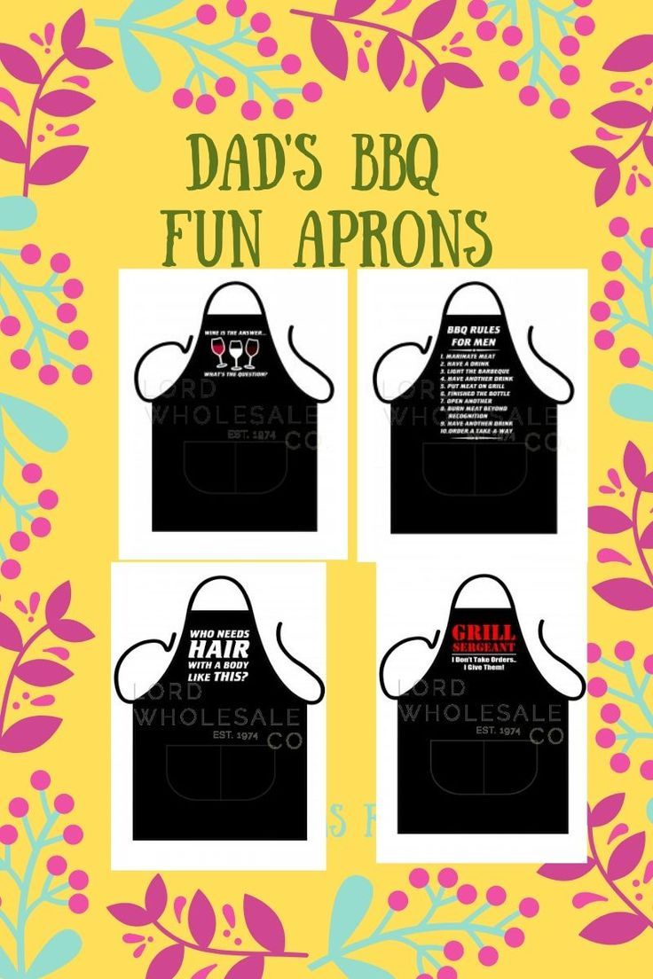 Dads bbq fun aprons with pockets with funny sayings