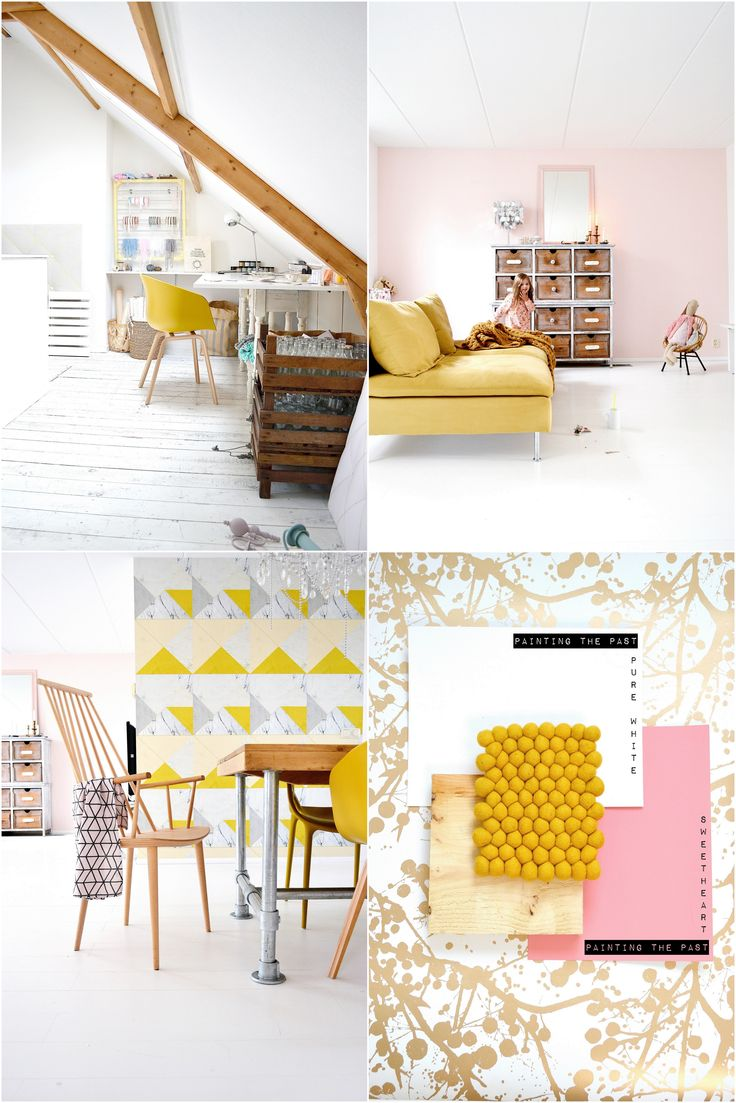 Moodboard ready for 2016 Akzonobel colorof the year: Gold. Fermliving wallpaper wilderness. Pantone colour of the year rosequartz (pink). My three favorite pink shades: 'Powder Blush' a bright blush powderpink. 'Morning Tea', a pale pink old pink. 'Sweetheart' a bright candy pink shade, all by Dutch paintbrand @paintingthepast My home 2014, #pinkandyellow pink combined with mustard ochre yellow. #okergeel #roze #kleurvanhetjaar #kleurinhuis