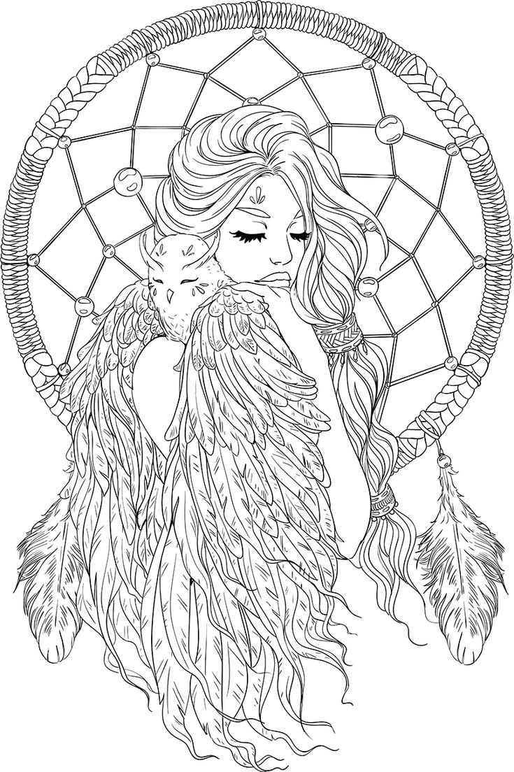 Pages to color for adults - Lineartsy Free Adult Coloring Page Dreamcatcher Lined