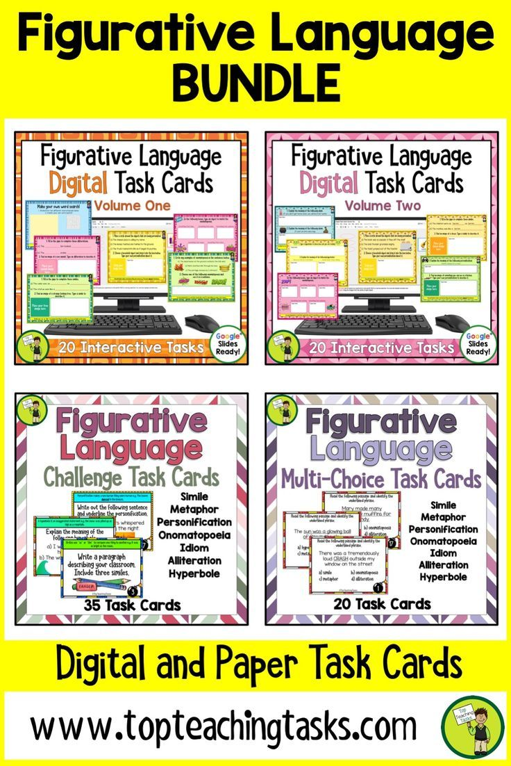 Our Figurative Language Bundle features two sets of 20 interactive Google slides for Grade 3 and Grade 4, multi-choice task card activities and challenge task cards for Grade 3 and Grade 4 (Year 3, Year 4, Year 5, Year 6). Mobile Learning. Google Resource. Digital Classroom. These English Language Arts Literacy cards include seven types of figurative language: idiom, hyperbole, simile, metaphor, onomatopoeia, alliteration, and personification.Great for revision and test prep. Suitable for…