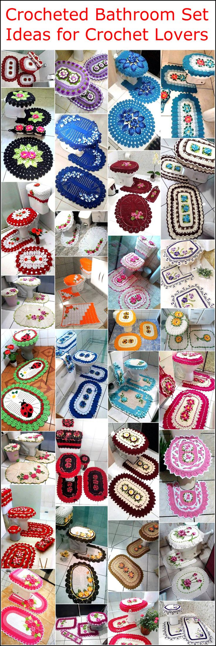 Crochet art is evergreen and it can never become out of fashion. You can make tremendous intricate household items and decorative accessories from Crochet. While there are plenty of ideas of creating various accessories with Crochet, we present to you awesome and unique designs of Crocheted bathroom sets. These bathroom sets are not only meant to increase the beauty but they are a must have if you have expensive and luxury fittings and accessories in your bathroom. Go for them if you want…