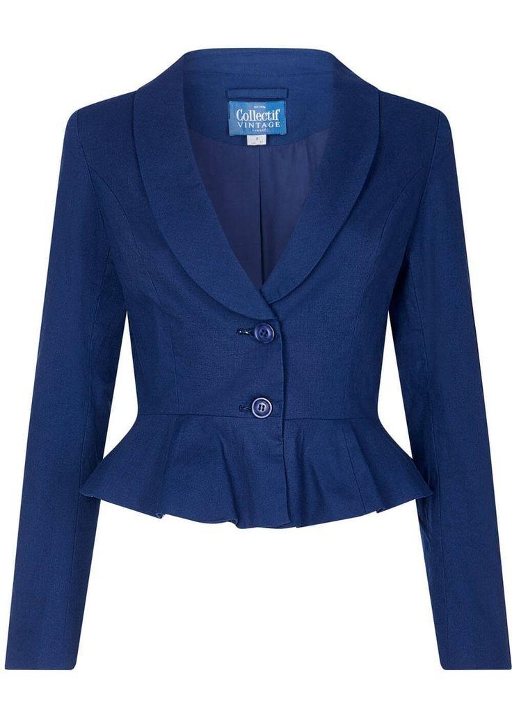 Collectif Agnes 1950s Blazer jasje navy dark blue colbert jacket
