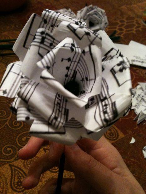 steampunk sheet music flower - for tattoo