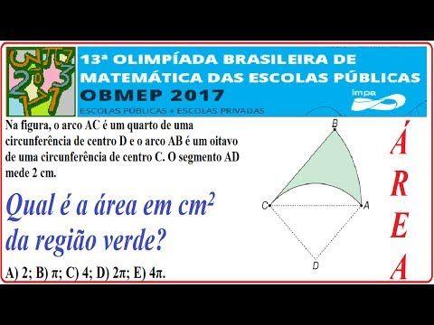 CURSO DE RACIOCÍNIO LÓGICO MATEMÁTICO NUMÉRICO QUANTITATIVO RESOLUÇÃO DA QUESTÃO DA PROVA NÍVEL E FASE DA OBMEP DE 2017 QUESTÃO RESOLVIDA DA 13ª OLIMPÍADA BRASILEIRA DE MATEMÁTICA DAS ESCOLAS PÚBLICAS E COLÉGIOS OU ESTABELECIMENTOS PARTICULARES OU PRIVADOS. PROBLEMA COM SOLUÇÃO PASSO A PASSO. EXERCÍCIO SIMULADO.  Nível 3 – 1º, 2º e 3º anos do Ensino Médio – 1ª Fase – Questão 8 – 06/06/2017.  Questão 8. Na figura, o arco AC é um quarto de uma circunferência de centro D e o arco AB é um oitavo…