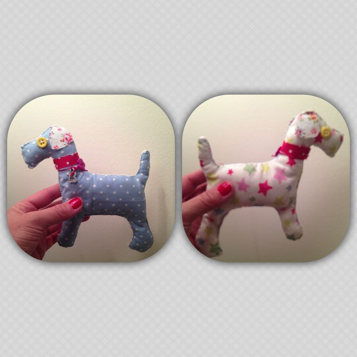 cotton handmade dogs (size 18CM X 18CM) wearing a lucky charm on the collar