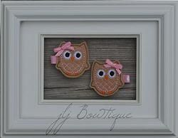 Tan and Pink Owl Hair Clips  - hc041 - $5.00 for pair available on jLj Bowtique