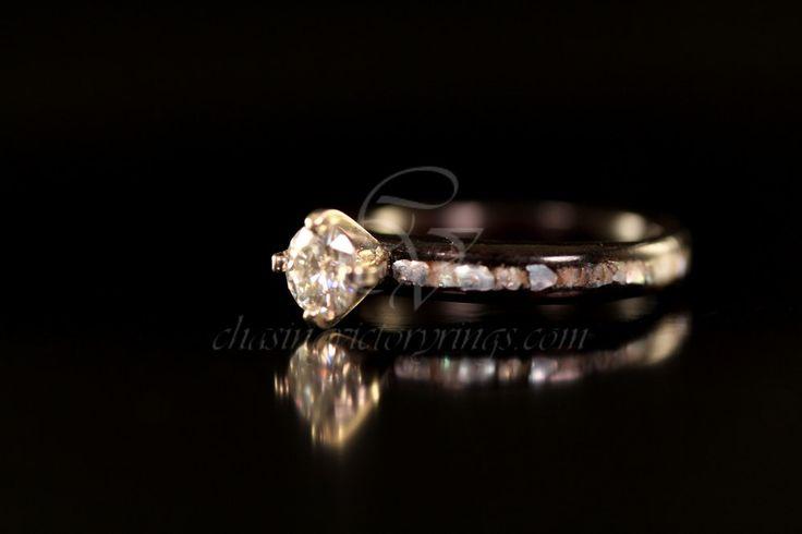 Ebony Wood Diamond Engagement Ring. $505.00, via Etsy.: Wooden Engagement Rings, Someday, Beautiful Wooden, Ebony Wood, Wood Diamonds, Rings Ding, Diamonds Rings, Wooden Rings, Diamonds Engagement Rings