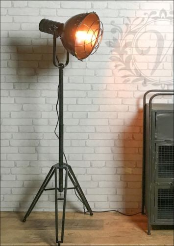 Retro Tripod Floor Lamp Black Vintage Style Metal Iron Light Led