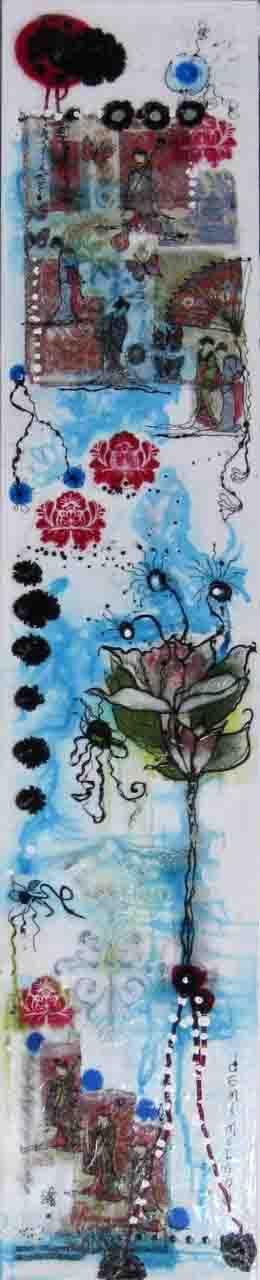 Demi McLeod SAYURI 30x152 mixed media on canvas Japanese Small Lilly