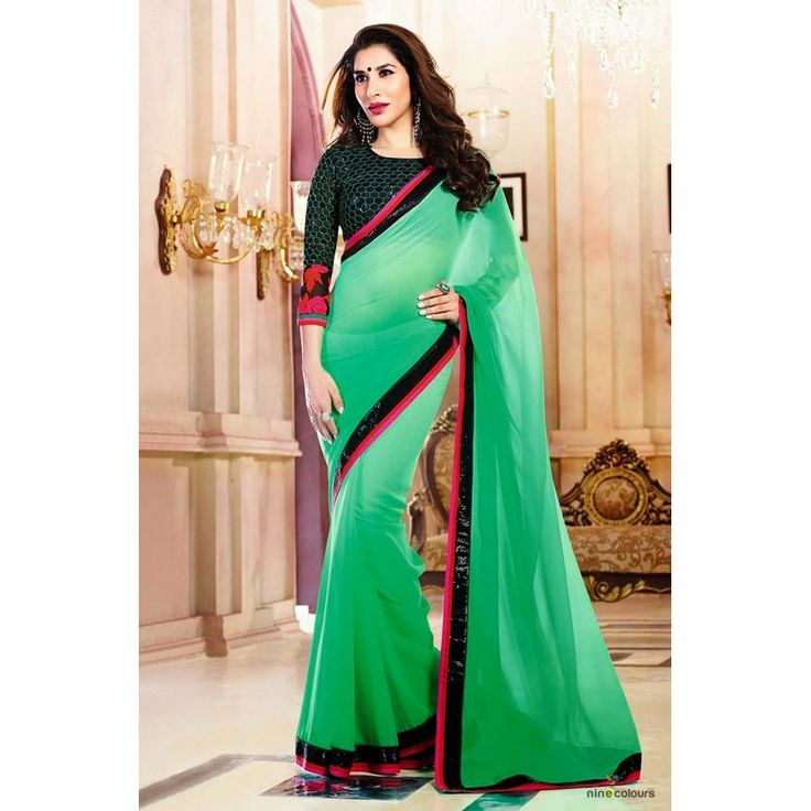 Designer Green Georgeet Saree - Buy Green Georgeet Saree Online at Best Prices in India | Vendorvilla.com at just Rs.1550/- on www.vendorvilla.com. Cash on Delivery, Easy Returns, Lowest Price.