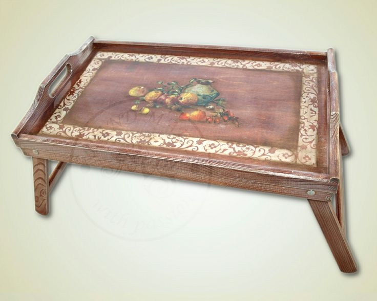 The coffee-tea table tray with floral ornament and decorated using decoupage method.