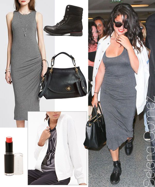 Selena Gomez's grey jersey dress and combat boots look for less / TheBudgetBabe.com