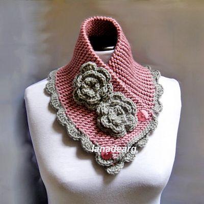 Handknit Crocheted Neckwarmer Scarf Chunky Cowl blush pink gray