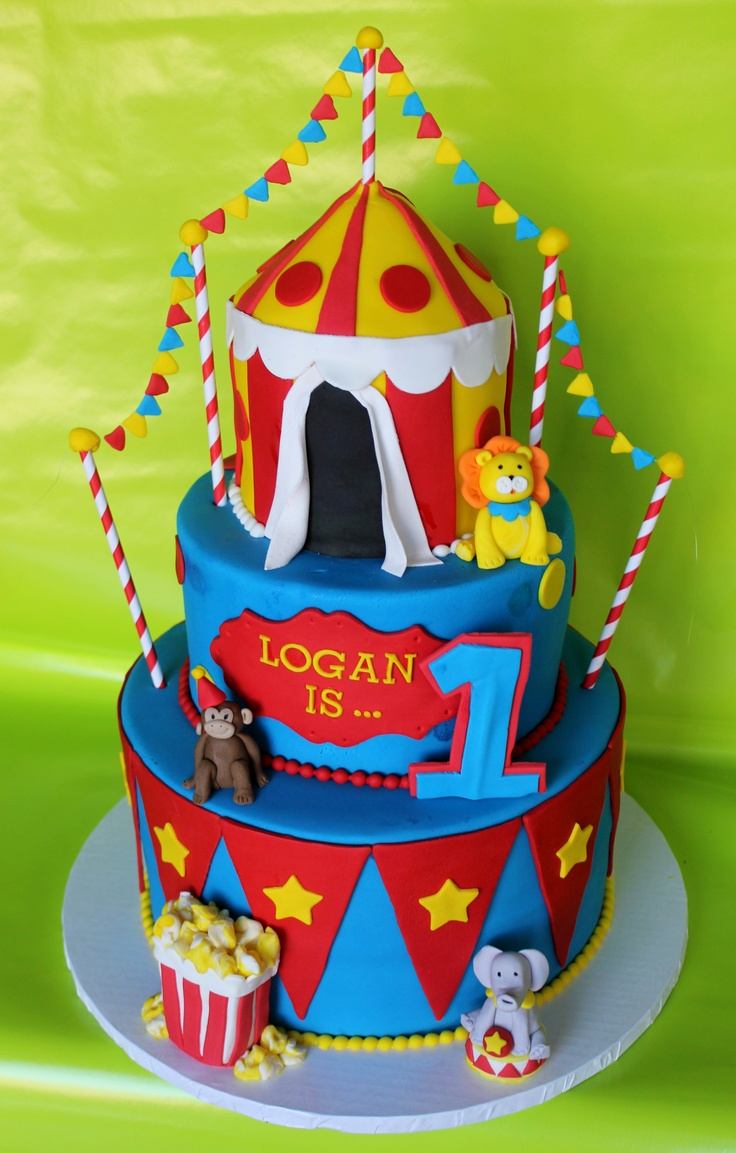 Superb Circus Themed Cake Slubne Suknie Info Personalised Birthday Cards Bromeletsinfo