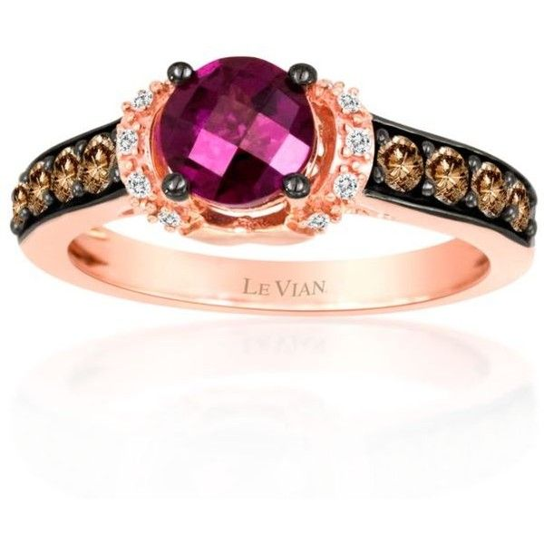 Le Vian Red 14K Strawberry Gold174 Raspberry Rhodolite174 Chocolate... ($910) ❤ liked on Polyvore featuring jewelry, rings, red, enhancer ring, 14k ring, 14 karat gold ring, chocolate rings and le vian rings