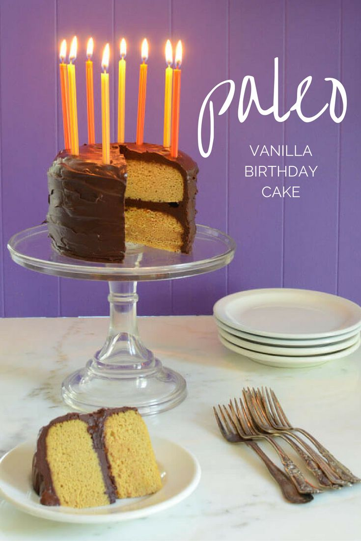 Paleo Vanilla Birthday cake made with 6 ingredients --coconut flour, eggs…