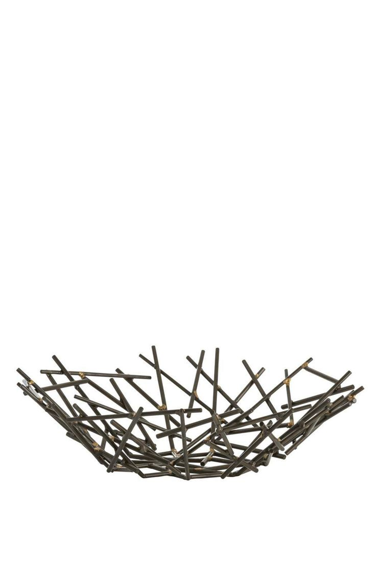 "Slender matchstick-sized pieces of natural iron are fused together with brass welds to create this organic yet industrial centerpiece. Since each is hand-assembled, size will vary.     Dimensions: H: 5"" Dia: 18.5""   Grazia Centerpiece by RENDR. Home & Gifts - Home Decor - Decorative Objects Texas"