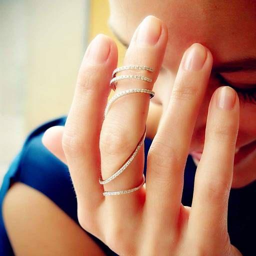 """""""Vine"""" Hinged Diamond Full Finger Ring"""